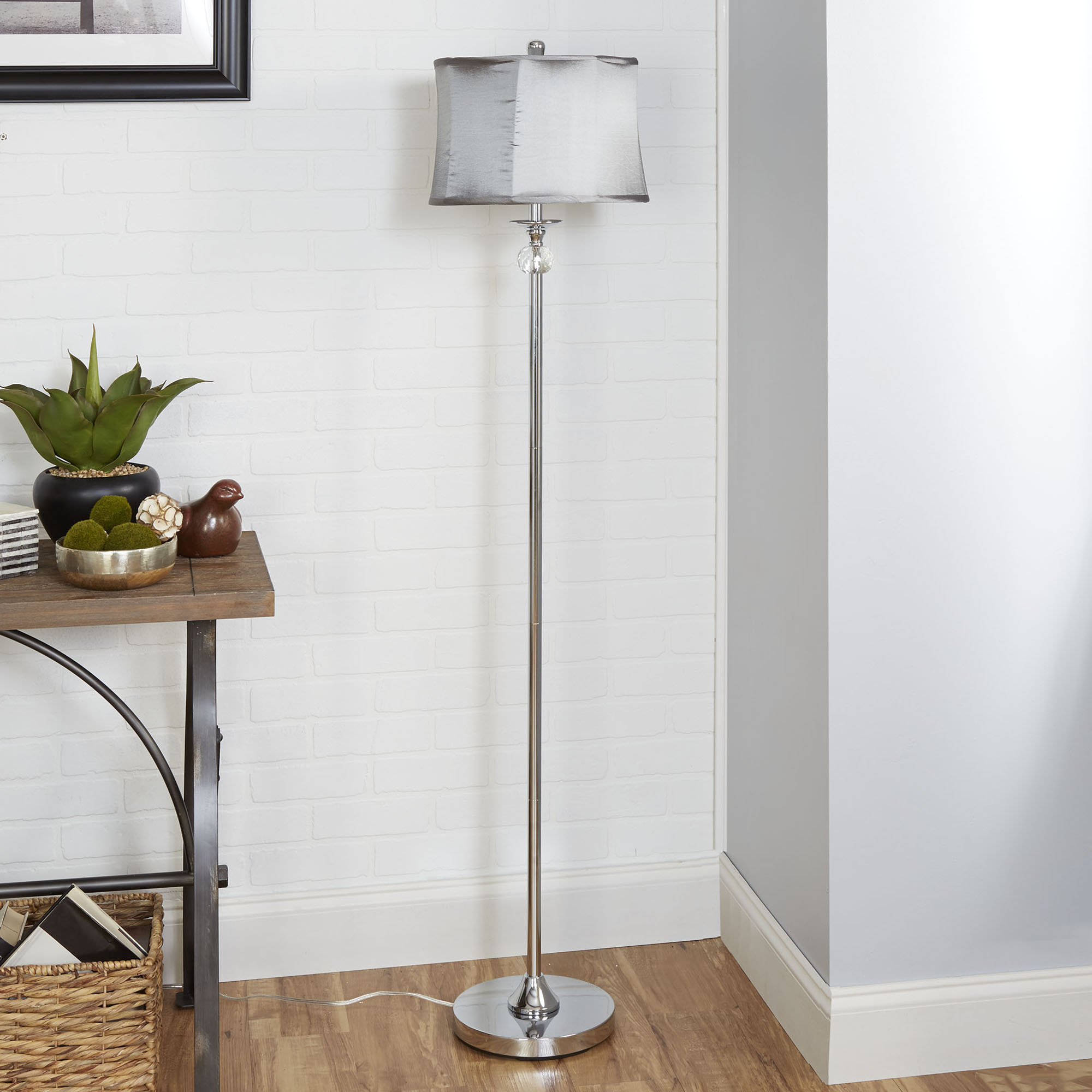 better homes and gardens glam chrome floor lamp with crystal accents walmartcom