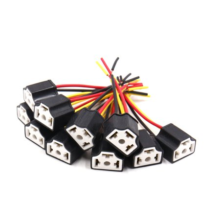 10Pcs Black Ceramic H4 Light Extension Wiring Harness Socket Connector for