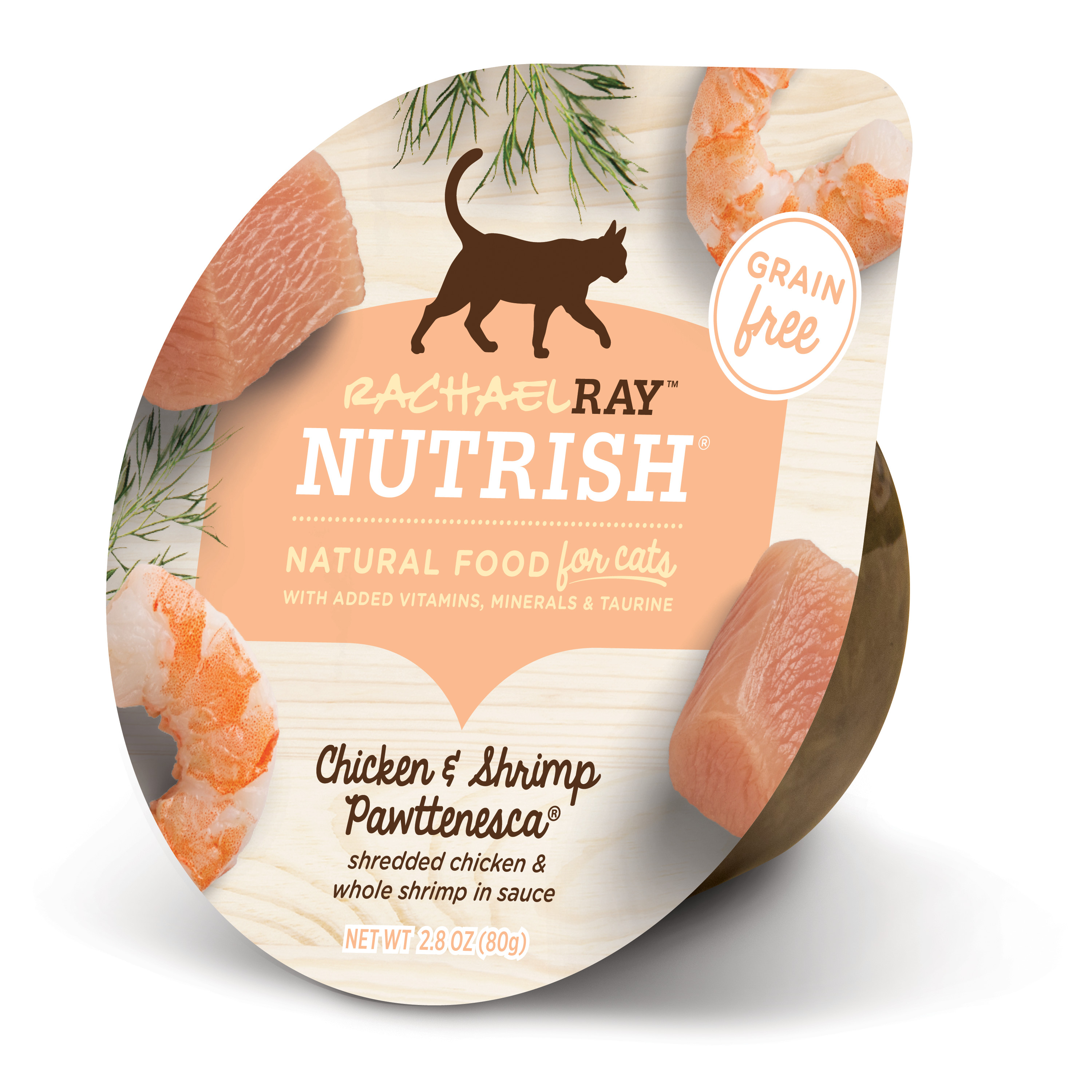 Rachael Ray Nutrish Natural Wet Cat Food, Grain Free, Chicken & Shrimp Pawttenesca, 2.8 oz tub