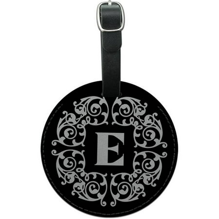 Letter E Initial Black White Scrolls Round Leather Luggage ID Tag Suitcase