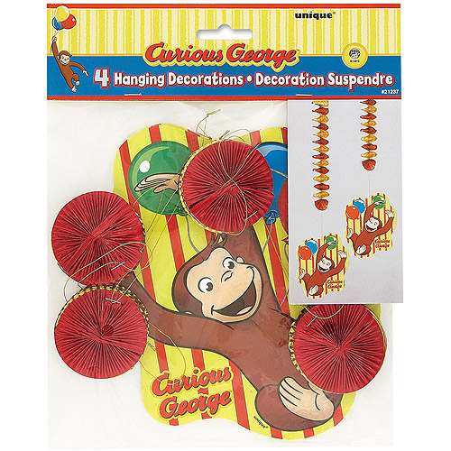 "28"" Hanging Curious George Decorations, 4ct"