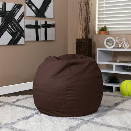 Flash Furniture Small Solid Brown Bean Bag Chair for Kids and Teens