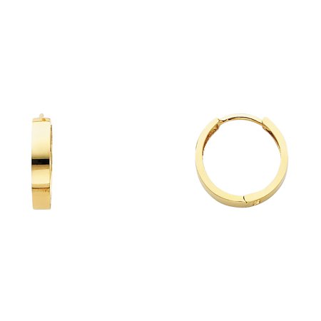 Ioka - 14K Gold 3mm Thickness Huggies Hinged Earrings