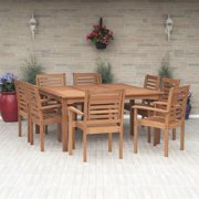 Amazonia Milano 9-Piece Square Patio Dining Set | Eucalyptus Wood | Ideal for Outdoors and Indoors
