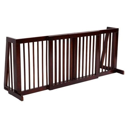 Gymax Folding Adjustable 3 Panel Wood Pet Dog Slide Gate Safety (Adjustable Pet Gate)
