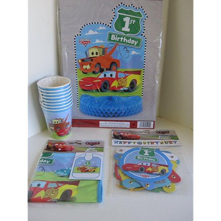 Party Bib - disney pixar cars party set 8 cups, jointed banner, centerpiece, 1st birthday bib