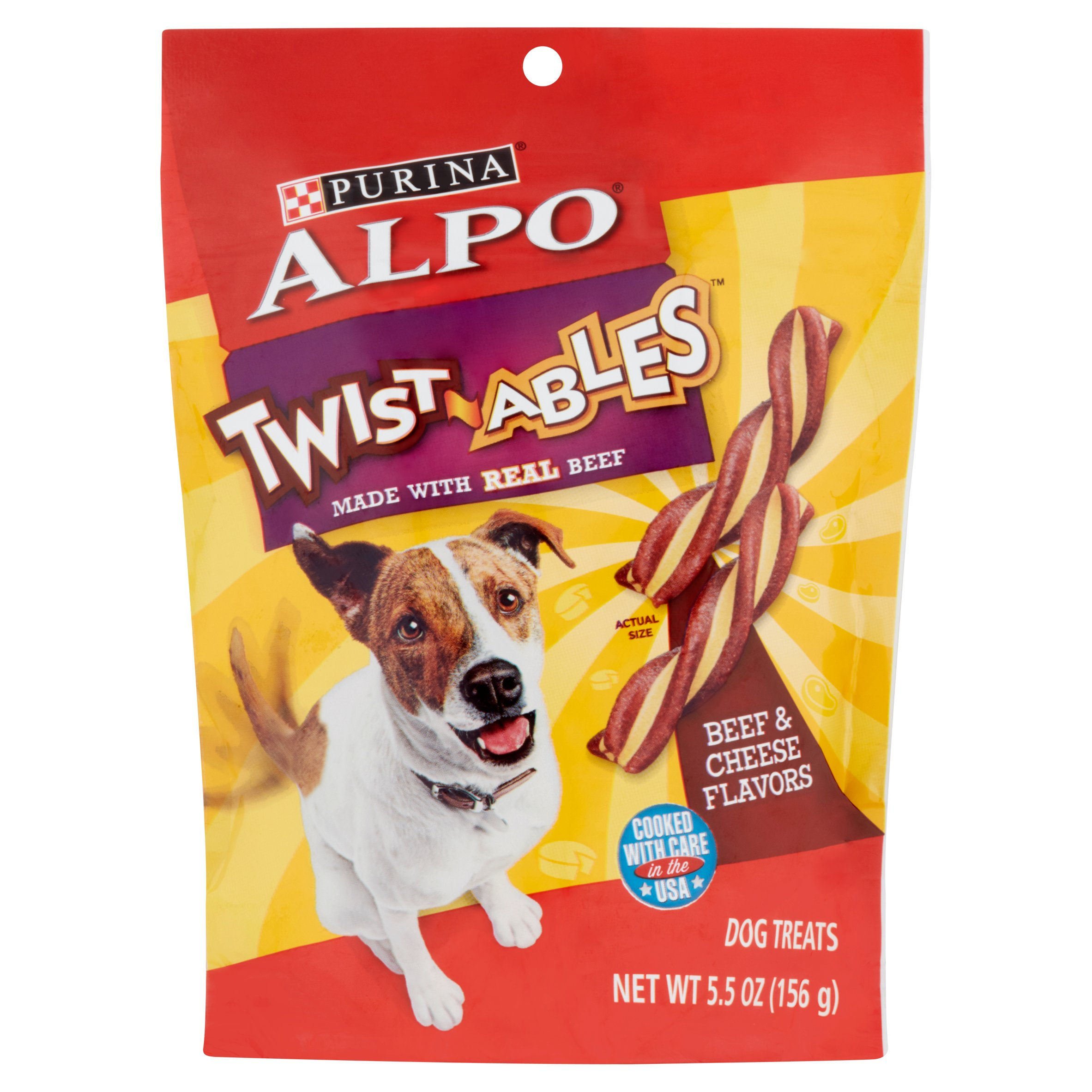 Purina ALPO Twist-ables Beef and Cheese Flavors Dog Treats, 5.5 oz Pouch