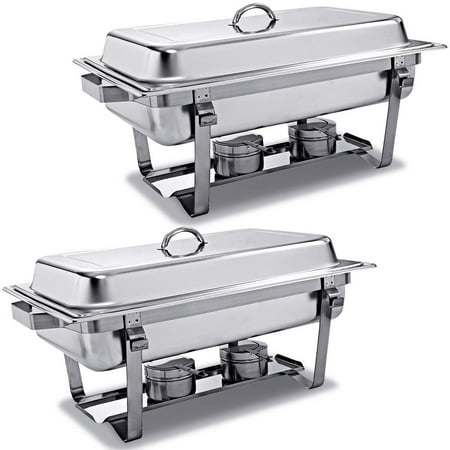 Oval Stainless Steel Chafer (2 Packs Chafing Dish 9 Quart Stainless Steel Rectangular Chafer Full Size Buffet)