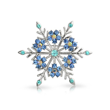 (Crystal Christmas Flower Snowflake Brooch Pin Rhodium Plated)