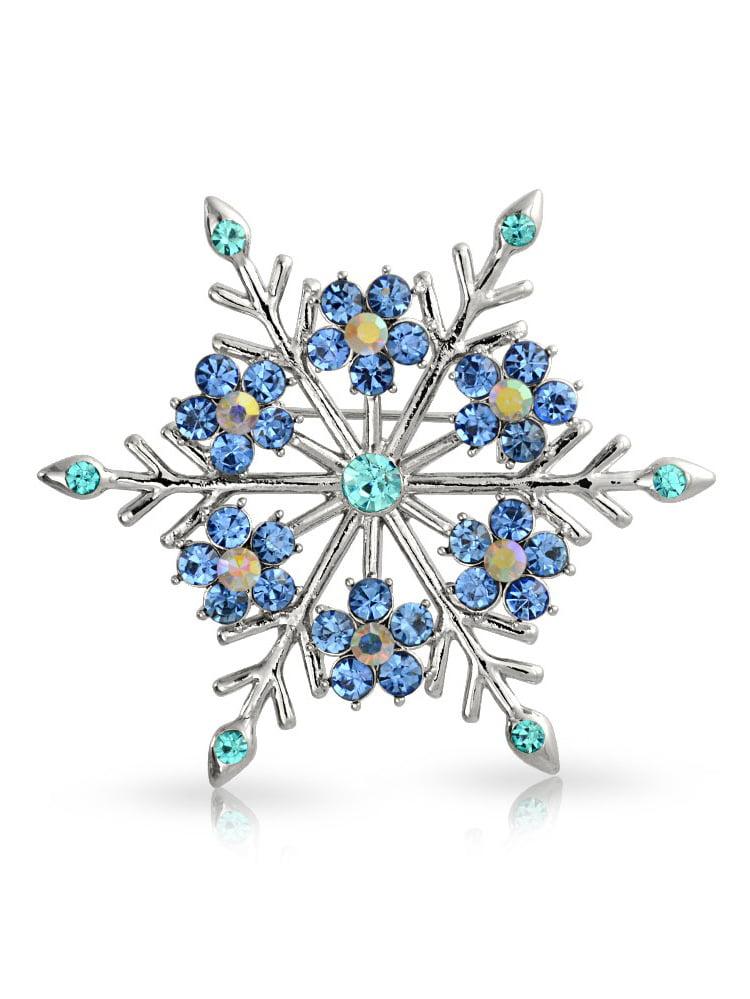 Crystal Christmas Flower Snowflake Brooch Pin Rhodium Plated