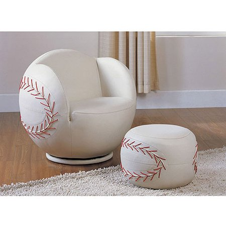 Peachy Acme All Star Baseball 2 Piece Chair And Ottoman Set Machost Co Dining Chair Design Ideas Machostcouk
