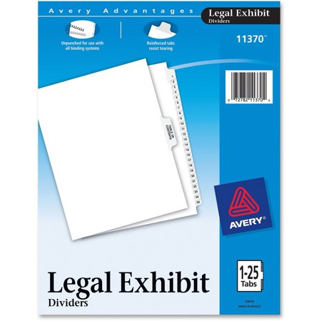 Avery®, AVE11370, Premium Collated Legal Exhibit Divider Sets - Avery Style, 25 / Set
