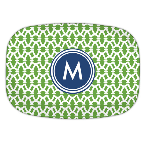 Whitney English Trellis Single Melamine Initial Plate