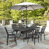 Home Styles Largo Outdoor Patio Dining Set, Cast Aluminum, 7 Piece with Umbrella and Cushions