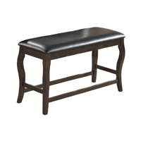 Wooden Bench with Cushioned Seat Gray