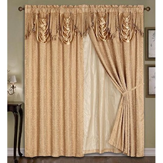 Luxury Embroidered Curtain Set. 4 Piece Gold/taupe Drapes