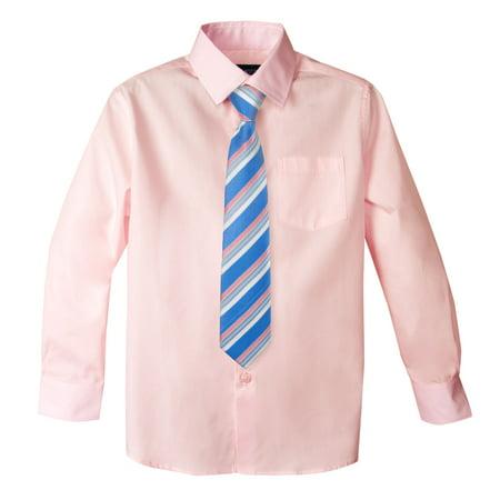 Boys Party Dresses (Spring Notion Big Boys' Cotton Blend Dress Shirt and Tie Set 3T)