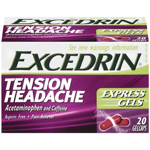 Excedrin: Tension Headache Aspirin Free Gelcaps Pain Reliever, 20 Ct