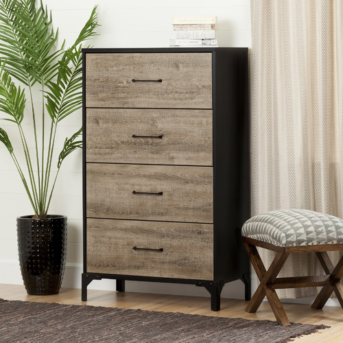 South Shore Valet 4-Drawer Chest, Weathered Oak and Ebony