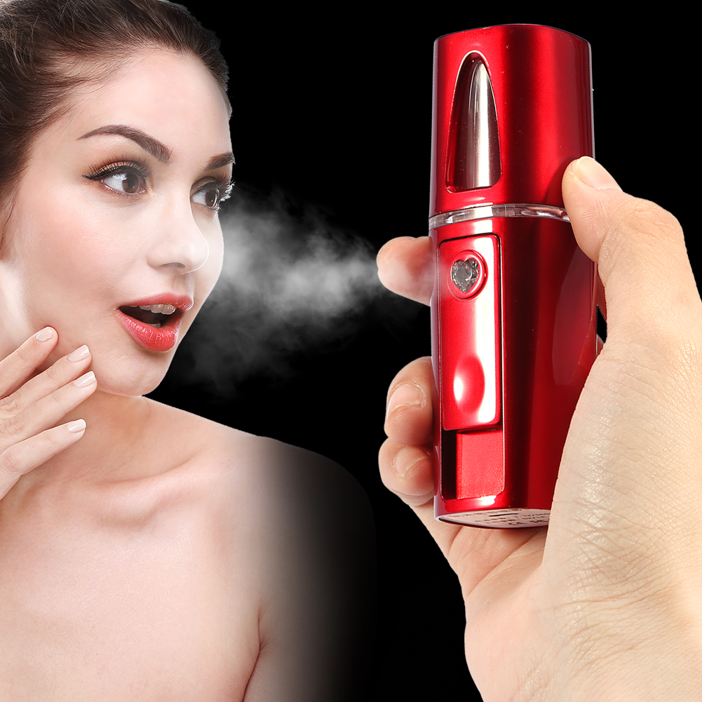 HURRISE Face Spa Sprayer Nano Beauty Hydrating Water Portable Facial Steamer Humidifier Whitening Red