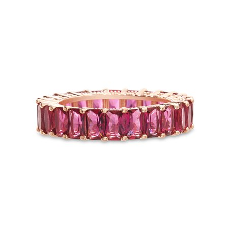 Ruby Red Cubic Zirconia Pronged Ring in Rose Gold Plated Sterling Silver