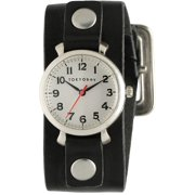 Mabel Womens Stainless Steel Case and Black Leather White Dial Silver Watch - T833-BK