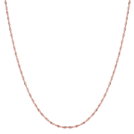 14k Rose Gold Singapore Chain Necklace, 1.0mm ()