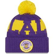 Los Angeles Lakers New Era Sport Logo Cuffed Knit Hat with Pom - Purple - OSFA