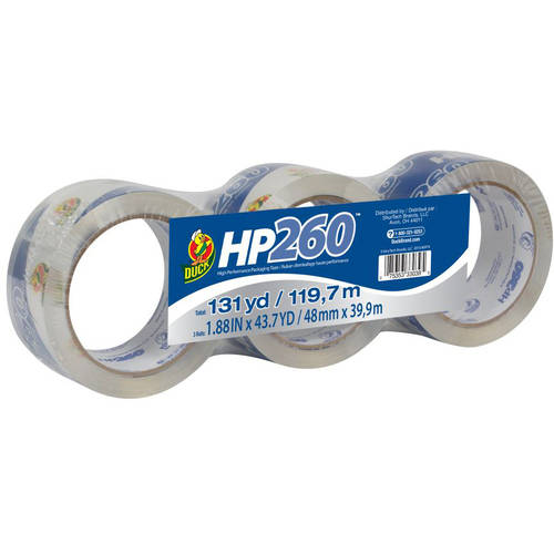 "Duck Brand Hp 260-Packaging Tape, Clear, 1.88"" x 43.7 yds, 3-Pack"