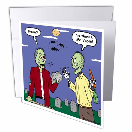 3dRose Halloween - Zombie Vegans, Greeting Cards, 6 x 6 inches, set of 12 - Halloween Rezepte Vegan