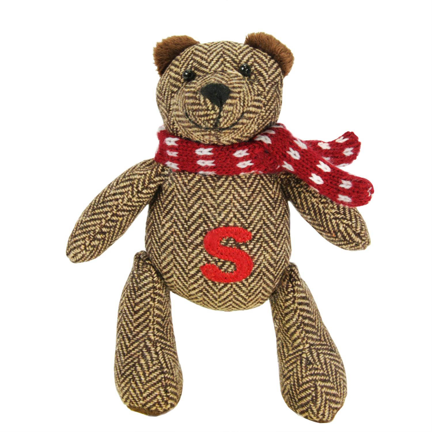 "6.25"" Brown Herringbone Plush Teddy Bear ""S"" Embroidered Christmas Figure... by CC Christmas Decor"