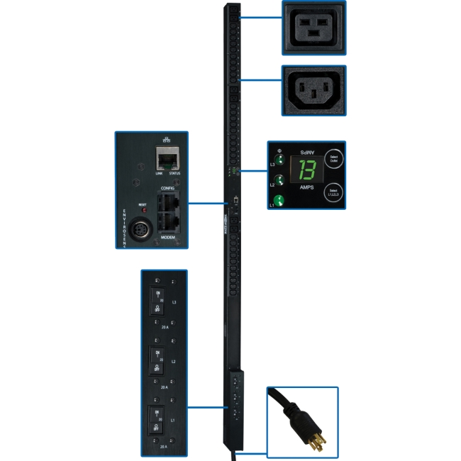 Tripp Lite 0U Vertical 10kW 3-Phase Monitored PDU w/ 48 Outlets & 3ft Cord