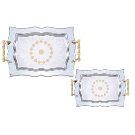 2pc Stainless Steel Decorative Serving Tea Tray - Tea Trays