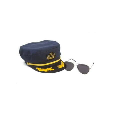 Sea Captain's Kit - Captain Hat + Aviator Sunglasses (Captain Hat)