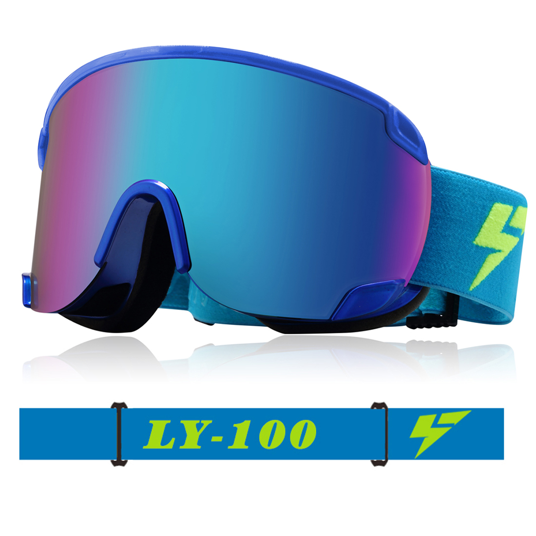Ski Snowmobile Snowboard Goggles OTG Anti-fog UV400 Protect Anti-slip BU for Women Men by