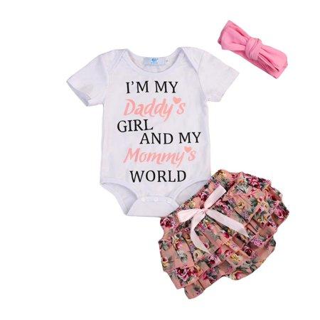 3PCS Newborn Kids Baby Girl Outfits Clothes Romper Bodysuit+Tutu Pants Dress Set (Kids Dress Up Clothes Set)