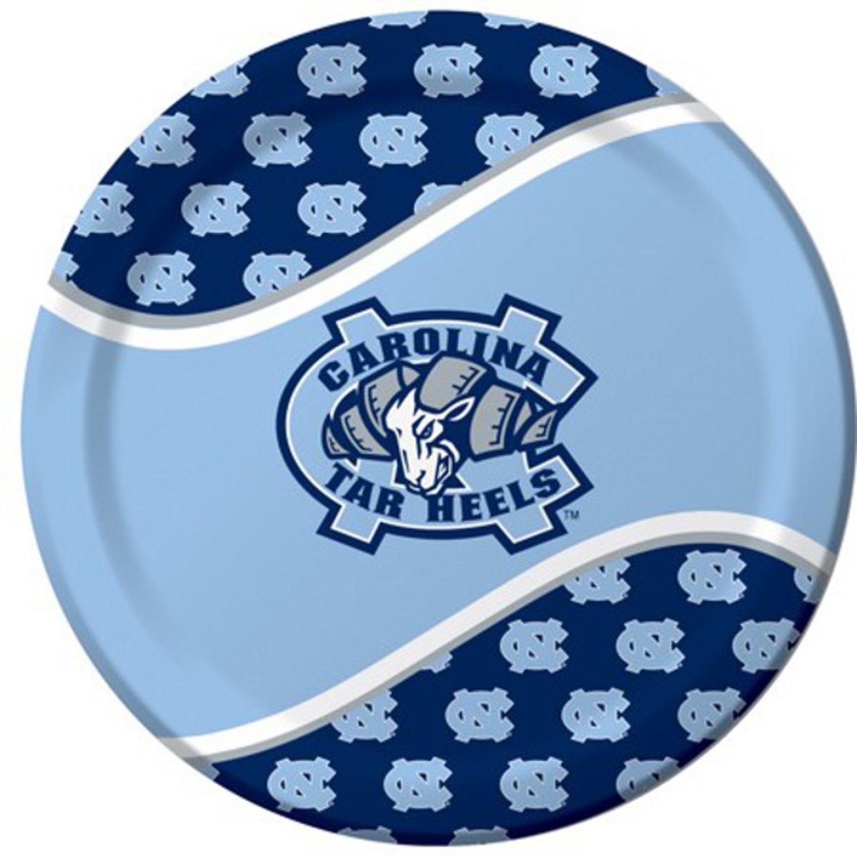 "96 NCAA North Carolina Tar Heels Round Tailgate Party Paper Dinner Plates 8.75"""