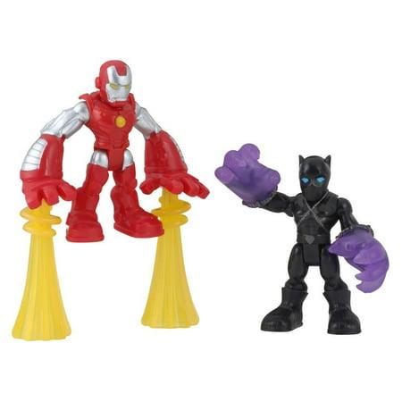 Playskool Heroes Marvel Super Hero Adventures Black Panther and Iron Man 2-Pack](Birthday Iron Man)