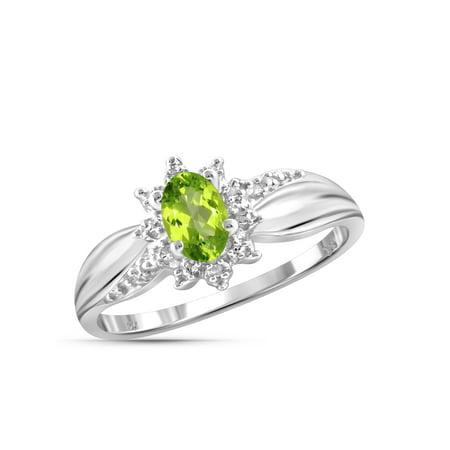 0.48 Carat T.G.W. Peridot Gemstone and White Diamond Accent Ring Peridot Gemstone Jewelry