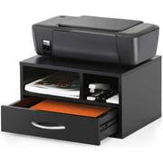 Two-Tier Printer Stand Desktop Organizer, Space-saving Desktop Stand for Printer/Fax, Modern Wood Workspace Desk Organizer Shelf Printer Stands for Home&Office, 15.75x11.81x8.86in, Black, A1333