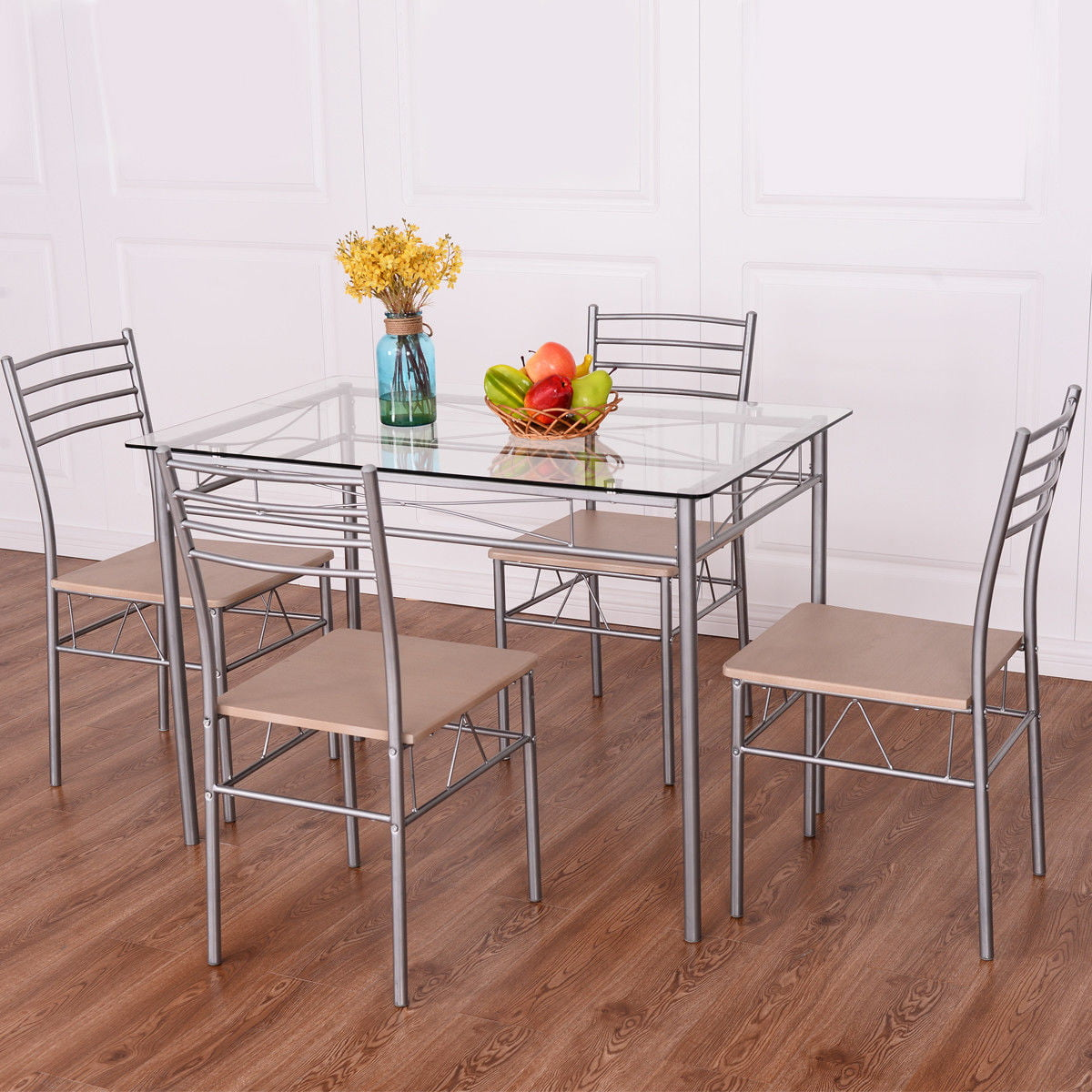 Costway 5 Piece Dining Room Set Table And 4 Chairs Glass Top Kitchen Breakfast Furniture by Costway