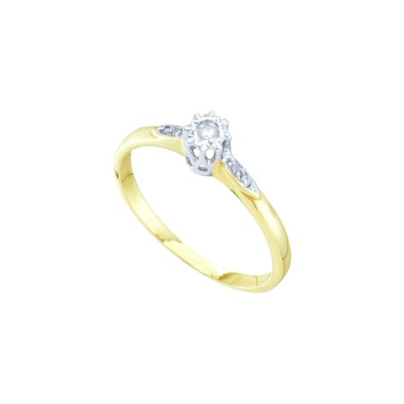 14kt Yellow Gold Womens Round Diamond Solitaire Bridal Wedding Engagement Ring 1/20 Cttw