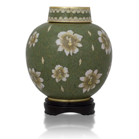 (Bronze Cremation Urn - Small 50 Pounds - Cloisonne Green  - Engraving Sold Separately)