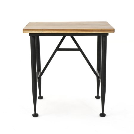 Ophelia Outdoor Industrial Acacia Wood Accent Table with Black Iron Accent, Antique