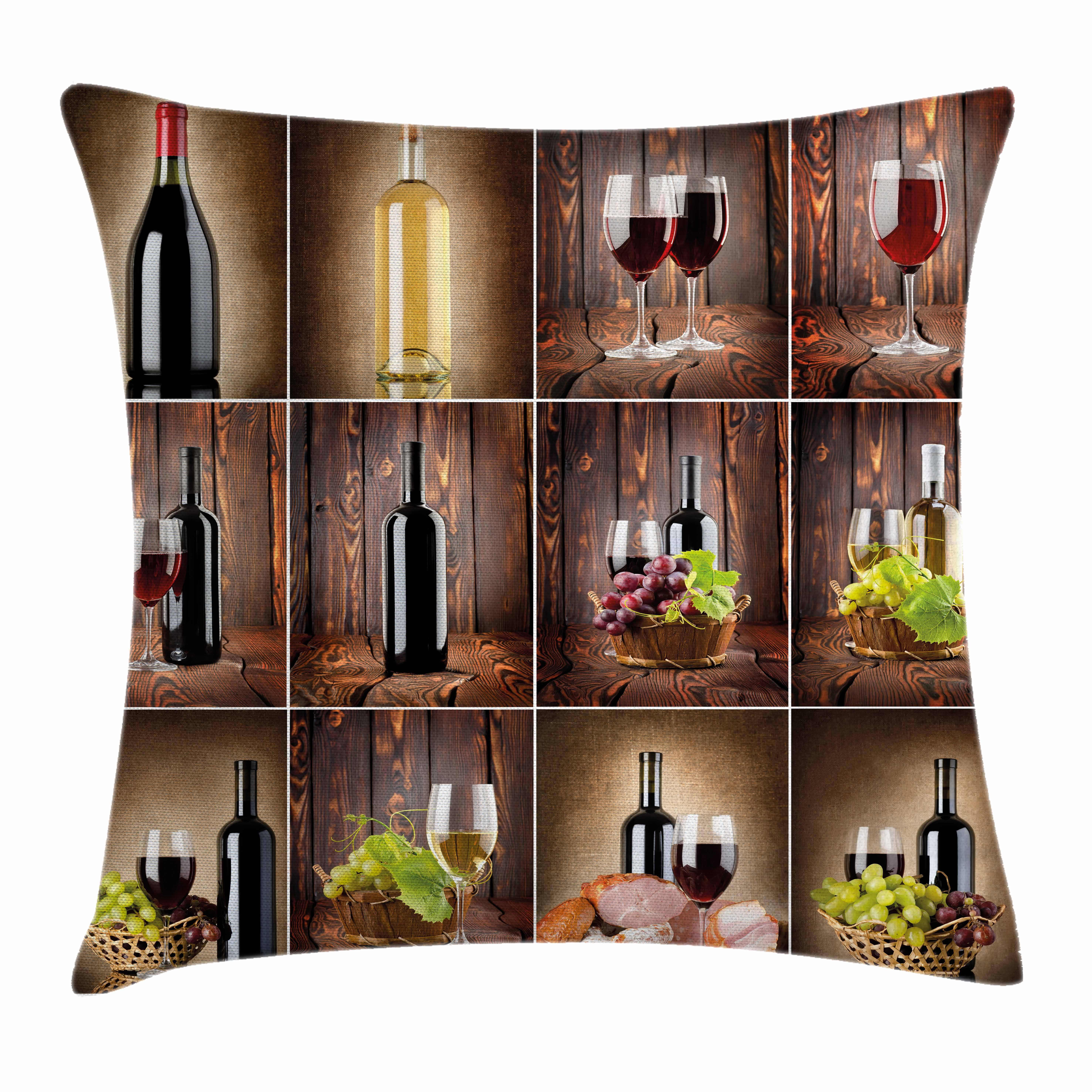 Wine Throw Pillow Cushion Cover, Wine Themed Collage on Wooden Backdrop with Grapes and Meat Rustic Country Drink, Decorative Square Accent Pillow Case, 16 X 16 Inches, Brown Black Red, by Ambesonne