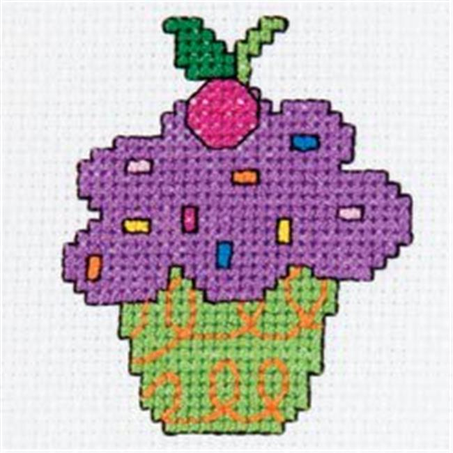 429072 My 1st Stitch Cup Cake Mini Counted Cross Stitch Kit-3 in. Round 14 Count