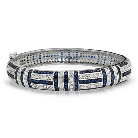 Art Deco Style Blue Simulated Sapphire Cubic Zirconia CZ Dome Statement Bangle Bracelet For Women Silver Plated Brass