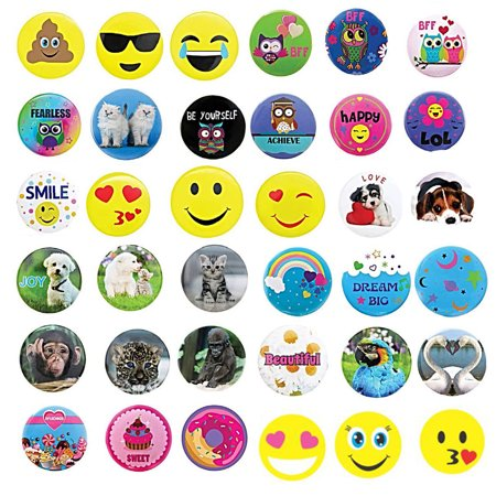 36 PCs Button Pins for Backpacks, Jackets, Bags - Great Birthday Party Favors, Stocking Stuffers, School Accessories and Supplies, Piñata Fillers, - Favors For Birthday Party