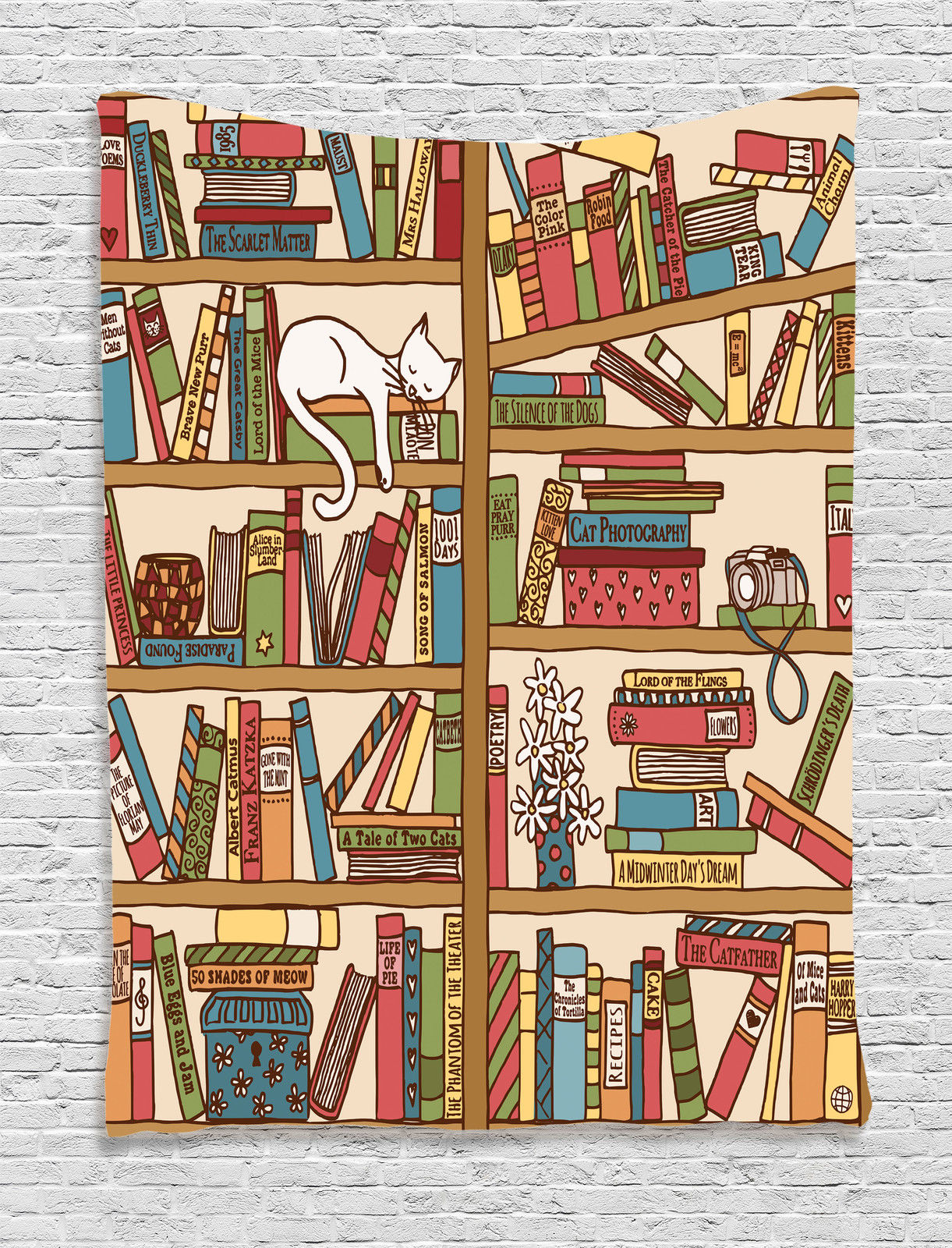 Cat Lover Decor Wall Hanging Tapestry, Nerd Book Lover Kitty Sleeping Over Bookshelf In Library Academics Feline Cosy... by Kozmos