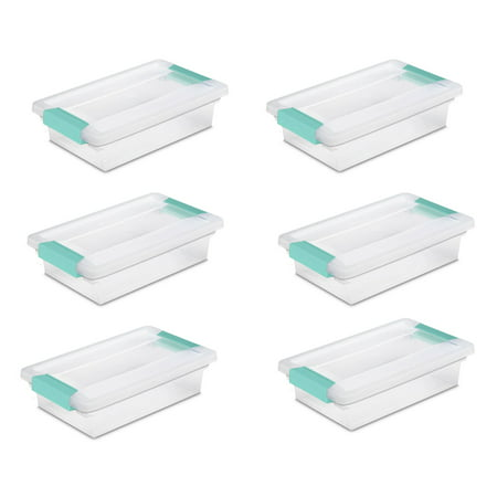 Sterilite Small File Clip Box Clear Storage Containers w/ Lid (6 Pack) (Best Storage Ideas For Small Apartments)